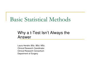 Basic Statistical Methods