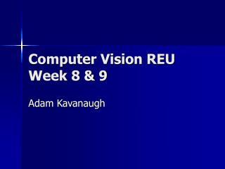 Computer Vision REU Week 8 & 9