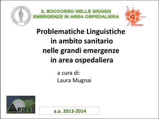 Problematiche Linguistiche  in ambito sanitario nelle grandi emergenze   in area ospedaliera