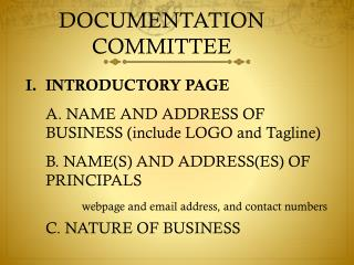 DOCUMENTATION COMMITTEE