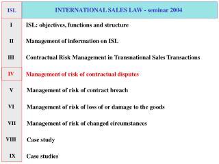 INTERNATIONAL SALES LAW - seminar 2004