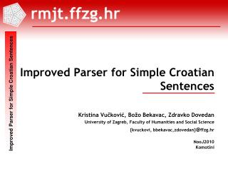 Improved Parser for Simple Croatian  Sentences