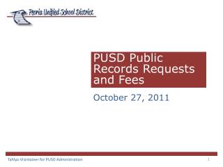 PUSD Public  Records Requests and Fees