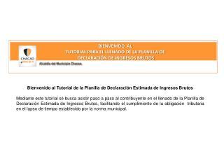 BIENVENIDO  AL   TUTORIAL PARA EL LLENADO DE LA PLANILLA DE   DECLARACIÓN DE INGRESOS BRUTOS