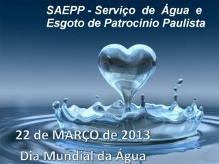 22 de MARÇO de 2013 Dia Mundial da Água