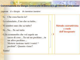 Conversazione tra Giorgio (Università di Genova) e gli alunni di una classe