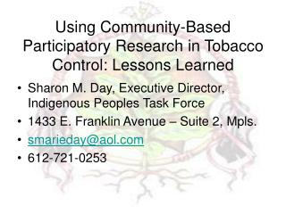 Using Community-Based Participatory Research in Tobacco Control: Lessons Learned