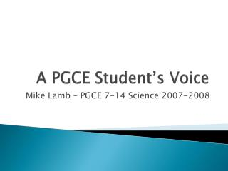 A PGCE Student's Voice