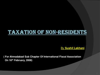 TAXATION  OF NON-RESIDENTS