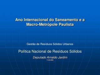 Ano Internacional do Saneamento e a Macro-Metrópole Paulista