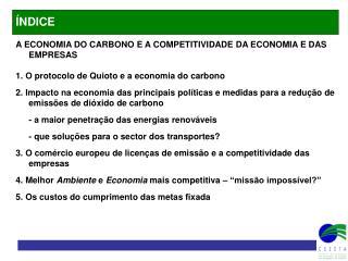 A ECONOMIA DO CARBONO E A COMPETITIVIDADE DA ECONOMIA E DAS EMPRESAS
