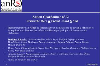 Action Coordonnée n°12 Recherche Mère  &  Enfant - Nord  &  Sud
