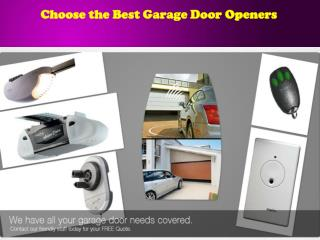 Choose the Best Garage Door Openers
