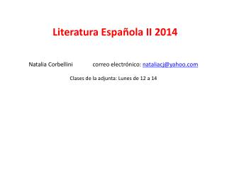Literatura Española II 2014
