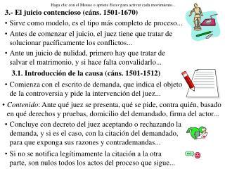 3.- El juicio contencioso (cáns. 1501-1670)