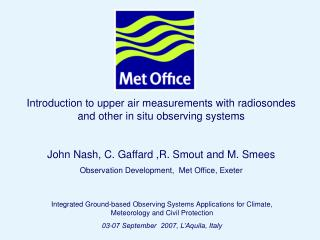 Introduction to upper air measurements with radiosondes and other in situ observing systems