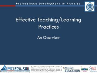 Effective Teaching/Learning Practices