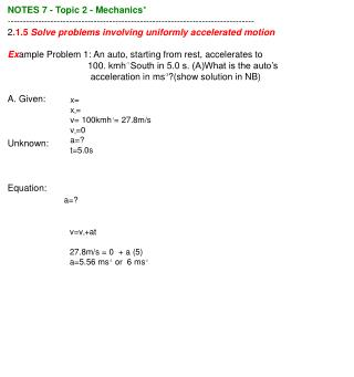 NOTES 7 - Topic 2 - Mechanics *