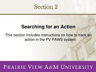 Searching for an Action