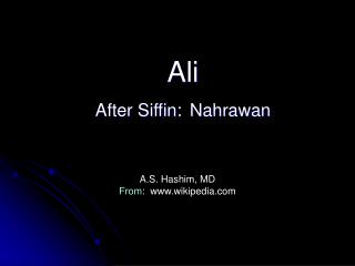 Ali  After Siffin: Nahrawan