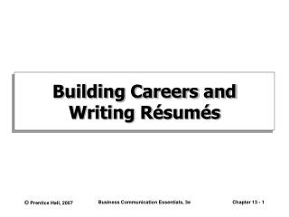 Building Careers and Writing R