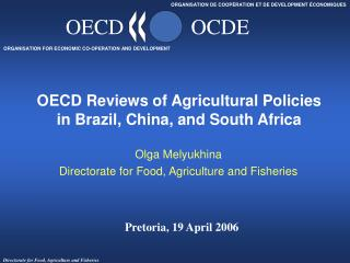 OECD Reviews of Agricultural Policies  in Brazil, China, and South Africa