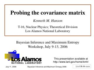 Probing the covariance matrix