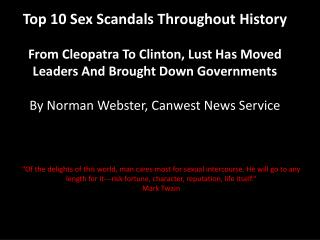 Top 10 Sex Scandals Throughout History