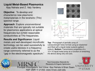 Liquid Metal-Based Plasmonics Ajay Nahata and Z. Valy Vardeny