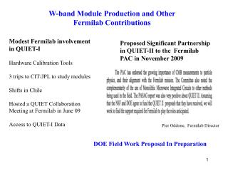 W-band Module Production and Other Fermilab Contributions