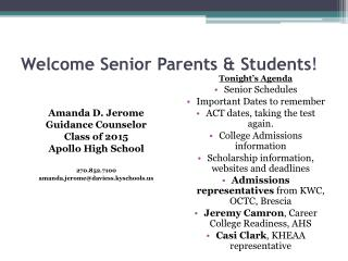 Welcome Senior Parents & Students !