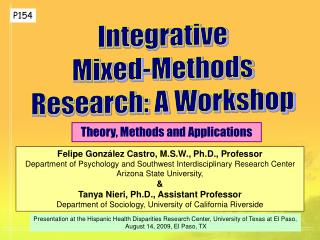 Integrative Mixed-Methods Research: A Workshop
