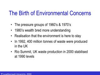 The Birth of Environmental Concerns