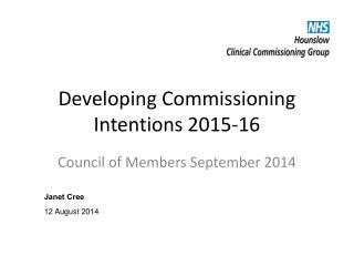 Developing Commissioning Intentions 2015-16