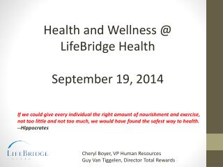 Health and Wellness @  LifeBridge Health September 19, 2014