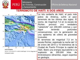TERREMOTO DE HAITÍ: A DOS AÑOS