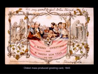 Oldest mass produced greeting card, 1843