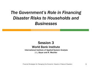 The Government's Role in Financing Disaster Risks to Households and Businesses