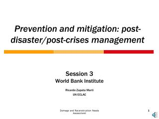 Prevention and mitigation: post-disaster/post-crises management