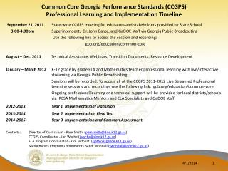 Common Core Georgia Performance Standards CCGPS   Professional Learning and Implementation Timeline