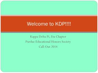 Welcome to KDP!!!!