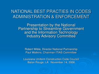 NATIONAL BEST PRACTIES IN CODES ADMINISTRATION  ENFORCEMENT
