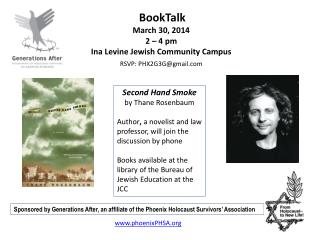 BookTalk March 30, 2014 2 – 4 pm Ina Levine Jewish Community Campus
