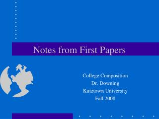 Notes from First Papers