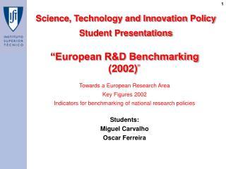 �European R&D Benchmarking (2002) �