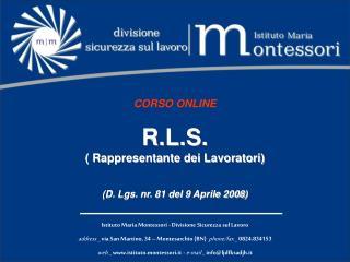 CORSO ONLINE R.L.S. ( Rappresentante dei Lavoratori) (D. Lgs. nr. 81 del 9 Aprile 2008)
