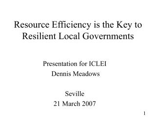 Resource Efficiency is the Key to Resilient Local Governments