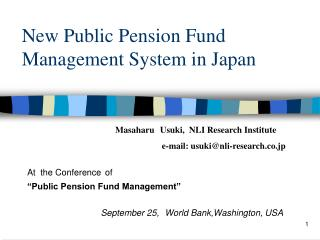 New Public Pension Fund Management System in Japan