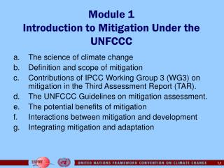 Module 1 Introduction to Mitigation Under the UNFCCC