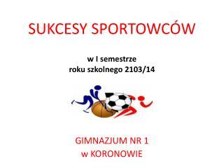 SUKCESY SPORTOWCÓW w I  semestrze   roku szkolnego 2103/14